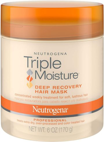 Neutrogena Triple Moisture Deep Recovery Hair Mask Moisturizer for Extra Dry Hair, Damaged & Over-Processed Hair, Hydrating Hair Treatment with Olive, Meadowfoam & Sweet Almond, 6 oz (Pack of 2)