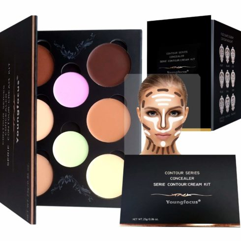 Youngfocus Cosmetics Cream Contour Best 8 Colors and Highlighting Makeup Kit - Contouring Foundation Concealer Palette - Vegan, Cruelty Free & Hypoallergenic - Step-by-Step Instructions Included