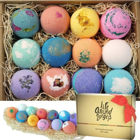 LifeAround2Angels Bath Bombs Gift Set 12 USA made Fizzies, Shea & Coco Butter Dry Skin Moisturize, Perfect for Bubble & Spa Bath. Handmade Birthday Mothers day Gifts idea