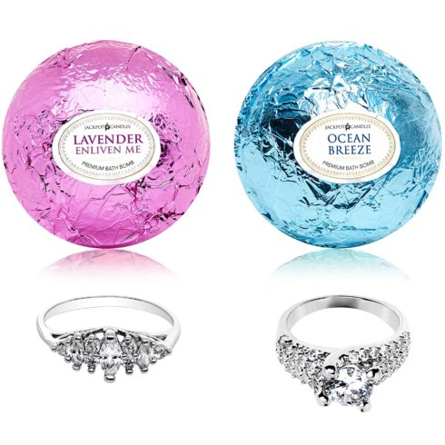 Ocean Breeze Lavender Bath Bombs Gift Set of 2 with Size 6 Ring Inside Each Made in USA
