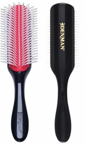 Denman Classic Styling Brush 9 Row - D4 - Hair Brush for Separating, Shaping & Defining Curls - Blow-Drying, Styling & Detangling Brush – Black