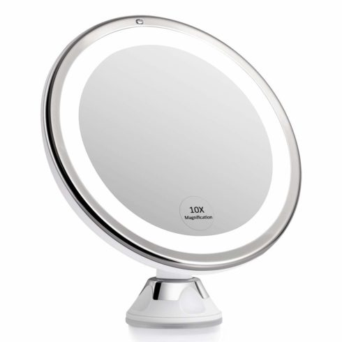 KEDSUM 2020 Newest 7.8'' 10X Magnifying Makeup Mirror with Lights, Dimmable Lighted Magnifying Mirror for Bathroom, Dual Power Supply, Powerful Suction Cup, USB or Battery Operated