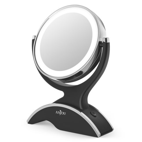 Makeup Mirror LED Lighted with 1X 7X Magnification, Anjou Vanity Mirror Battery-Powered, Removable, Double Side, 360° Rotation for Countertop Cosmetic Makeup