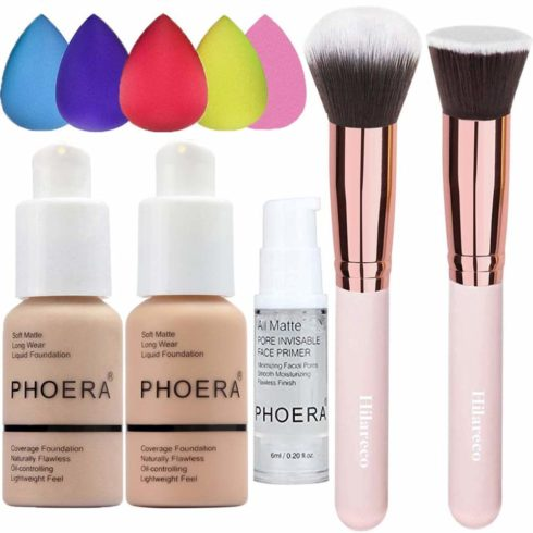 Phoera Foundation 102 and 103 ,Hilareco Full Coverage Foundation Set, Foundation Brush Powder Brush,5 Makeup Sponge ,Flawless 30ml Natural Matte Oil Control (Nude #102 + Warm Peach #103)