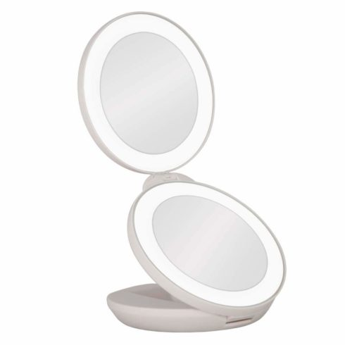 Zadro Dual LED Lighted 10X 1X Magnification Travel Mirror, White