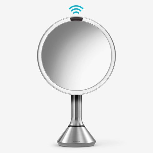 simplehuman 8 Round Sensor Makeup Mirror with Touch-Control Brightness, 5x Magnification Rechargeable and Cordless, Brushed Stainless Steel