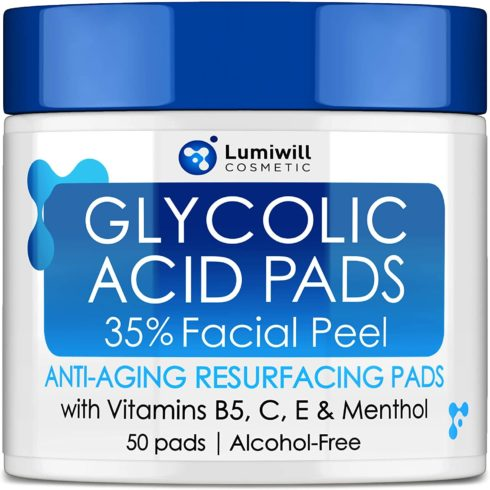 Glycolic Acid Pads 35% - AHA Glycolic Acid Peel Pads with Vitamin B5, C, E - Natural Glycolic Acid Peel for Dark Spots, Acne, Breakouts, Fine Lines & Wrinkles - Anti-Aging Glycolic Acid Facial Peel