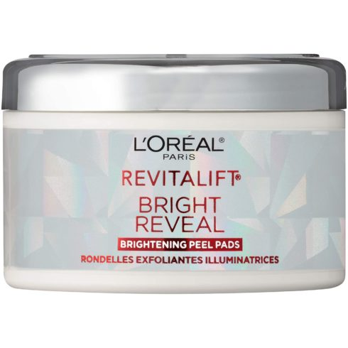 L'Oreal Paris Revitalift Bright Reveal Anti-Aging Peel Pads with Glycolic Acid Exfoliating Facial Pads to Reduce Wrinkles and Brighten Skin for All Skin Types 30 Count (Pack of 1) White