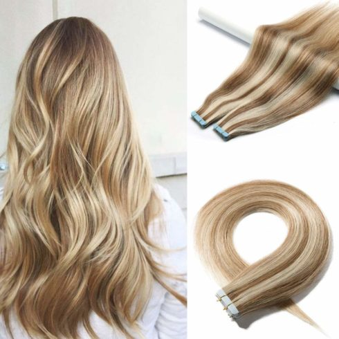 40 Pieces 100g Rooted Tape In Hair Extensions Human Hair Invisible Seamless Skin Weft Double Side Tap