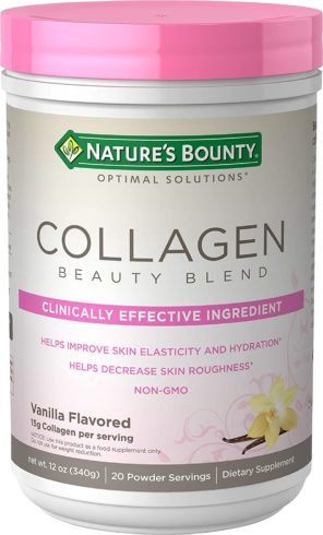 Collagen Beauty Blend by Nature's Bounty Optimal Solutions, Dietary Supplement, Supports Skin Health, Vanilla Flavor, 15g Per Serving, 20 Powder Servings
