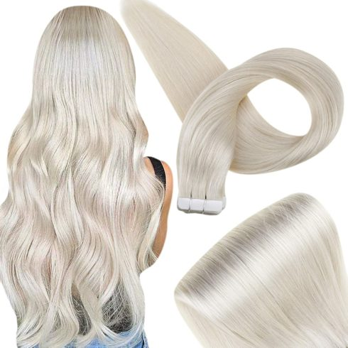 Fshine Tape In Hair Extensions 12 Inch PU Adhesive Tape In Extensions 30 Grams Tape On Hair Straight Glue On Hair Color 1000 Lightest Blonde Seamless Hair Extensions Brazilian Hair Tape Ins