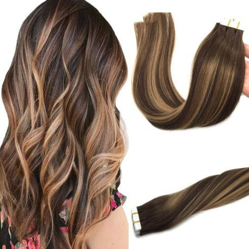 GOO GOO 20pcs 50g Human Hair Extensions Tape in Ombre Chocolate Brown to Caramel Blonde Natural Hair Extensions Tape in Real Hair Balayage Straight 14 inch