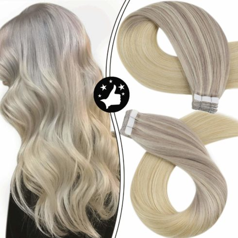 Moresoo Blonde Tape in Hair Extensions Human Hair 20 Inch Tape in Remy Hair Extensions Tape in Blonde Ombre Hair Extensions Seamless Hair Extensions Tape ins Balayage Hair Extensions
