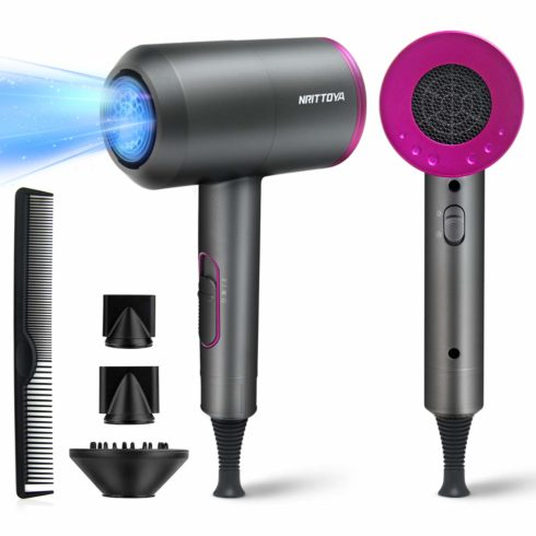 Nrittoya Ionic Hair Dryer 1800W Professional Blow Dryer with Diffuser 2 Concentrator Nozzle