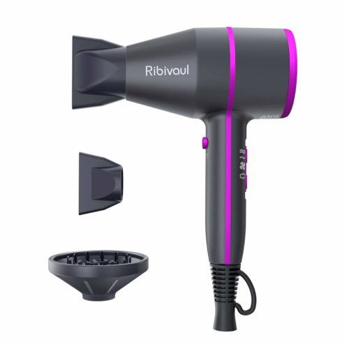 Professional Ionic Hair Dryer, Ribivaul Powerful 1875 Watt Ceramic Tourmaline Hairdryer, Pro Ion Blower with Diffuser Concentrator Comb for Fast Drying Styling, Blow Dryers Salon & Home Use