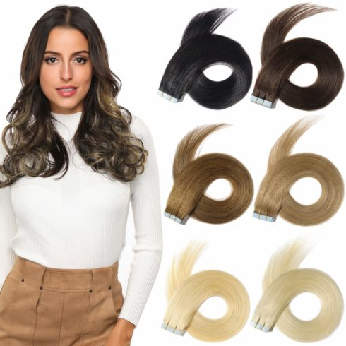 ROSEBUD Tape in Hair Extensions REMY Human Hair, Secure Skin Weft Hair Extensions Seamless