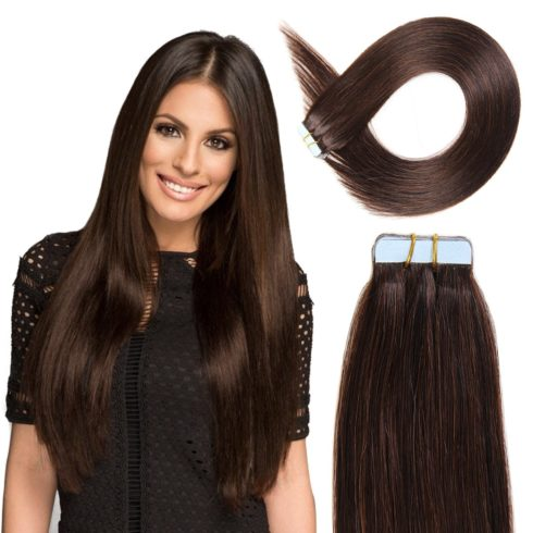 Tape in Hair Extensions Human Hair 20 inch 50g pack 20pcs Seamless Skin Weft Remy Straight Hair