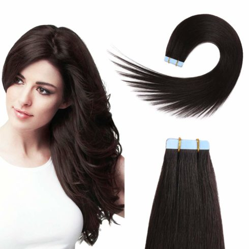 Tape in Human Hair Extensions 16 inches 20pcs 40g Silky Straight Remy Tape Hair Extensions Off Black Tape in Hair Extensions